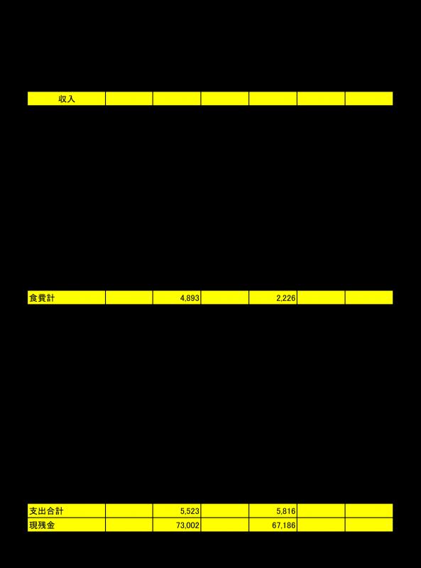 家計簿の記入例